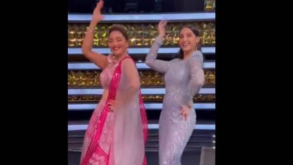 Madhuri Dixit Dances To Her Cult Song 'Mera Piya Ghar' With Nora Fatehi, Watch Video