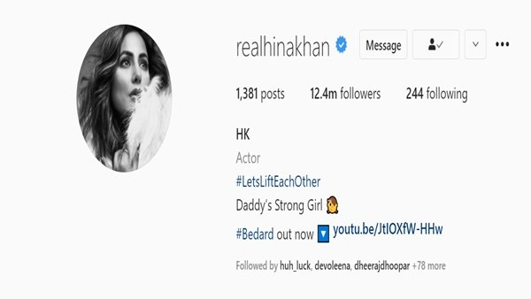 ALSO READ: Hina Khan Mentions Herself As 'Daddy's Strong Girl' In Her Instagram Bio