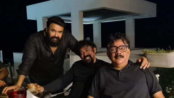 Mohanlal, Priyadarshan, And Santhosh Pose For A Picture