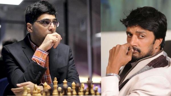 Kiccha Sudeep Challenges Grandmaster Vishwanathan Anand