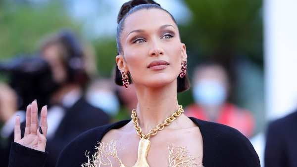 Cannes 2021: Bella Hadid's Sleek Dress And Gold Lung Necklace Nabs All The Attention