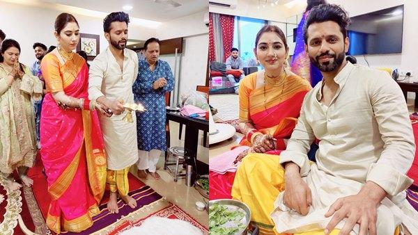 Rahul Vaidya And Disha Parmar Perform Satyanarayan Puja Post Wedding In Traditional Maharashtrian Look [PICS]