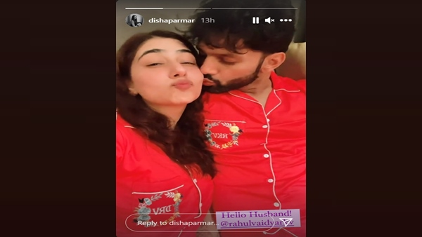Disha Parmar Gets A Peck On Her Cheek From Hubby Rahul Vaidya; Actress Shares Sweet Moment After Wedding