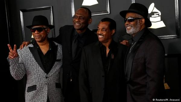 Dennis Dee Tee Thomas at left with Kool and the Gang at the 2017 Grammy Awards in Los Angeles - DW Photo