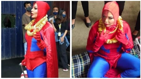 Upset With Bigg Boss OTT, Rakhi Sawant Reaches The Set In Bizarre Spider-Man Look Uninvited!