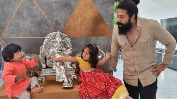 Yash And Radhika Pandit Wish Fans On Ganesh Chaturthi, Actress Shares Video Of Ayra & Yatharv From The Pooja