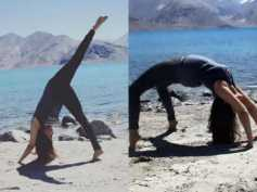 See Pics! Urmila Matondkar Performing Yoga By The Sea In Pangong