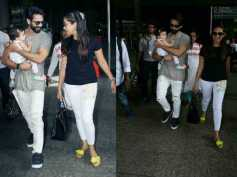SUCH ADORBS! Shahid Kapoor With His Wife Mira Rajput & Baby Misha SPOTTED At The Airport [PICS]