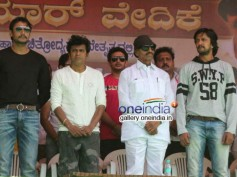 Photos: Shivaraj Kumar, Puneet Rajkumar, Sudeep, Darshan In Protest Against Dubbing
