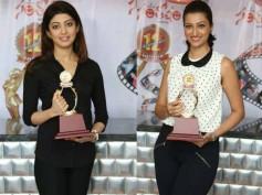 Pics: Pranitha, Hamsa Nandini Release Santosham Awards Logo, Shield