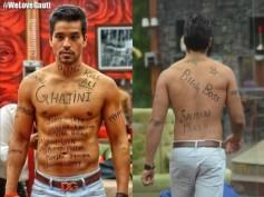 PHOTO: Gautam Gulati Goes Ghajini On Bigg Boss 8, Writes 'Kill Ali' On Topless Body!