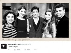 Shahrukh Khan Tweets Karan, Alia, Farah, Anushka Present During Fire!