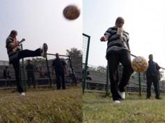 Pics! Amitabh Bachchan Playing Football Will Make You Feel Much Older