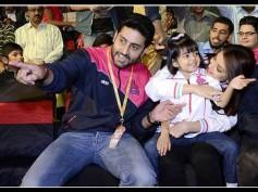 DAMN CUTE PICS: Aishwarya Rai, Aaradhya, Abhishek Bachchan Enjoying Kabaddi Match In Bangalore