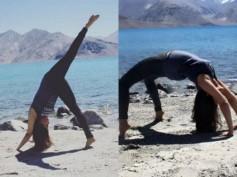 See Pics! Urmila Matondkar Performing Yoga By The Sea In Pangong