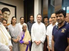 Rahul Gandhi Visits Dr. Rajkumar's House To Mourn Dr. Parvathamma Rajkumar's Loss