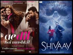 Ae Dil Hai Mushkil Vs Shivaay Three Days Weekend Box Office Collection