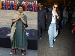 Kangana Ranaut Oozes Grace Manikarnika Song Launch Kareena Kapoor Rocks Baggy Jeans Airport