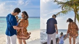 Neha, Angad Take Mehr For A Stroll On The Beach In Maldives