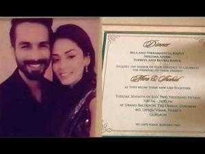 Wow! Shahid Wanted Mira's Name Above On The Wedding Cards