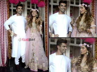 Bipasha & Karan Pose For The Media On Their Mehendi Ceremony