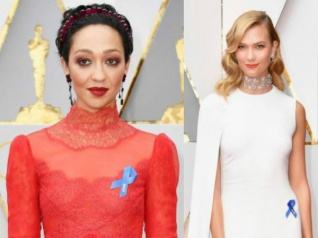 Celebs Wear Blue Ribbon To Protest Trump At The Oscars