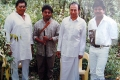 Veerabahu MP Shankar  with Dr.Rajkumar and his son Shivaraj kumar on the sets of Gandhadagudi