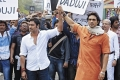 Ajay Devgan and Arjun Rampal still from Satyagraha
