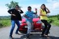 Prajwal Devaraj, Mithra and Chaitra Rai in Kannada Movie Jamboo Savari