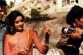 Dharmendra, Hema Malini & Amitabh Bachchan on the sets of Sholay