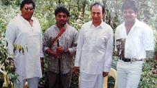 Veerabahu MP Shankar  with Dr.Rajkumar and his son Shivaraj kumar on the sets of Gandhadagudi