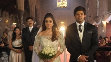 Sathyaraj, Nayantara and Arya still from Raja Rani