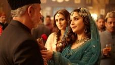Naseeruddin Shah, Madhuri Dixit and Huma Qureshi still from film Dedh Ishqiya