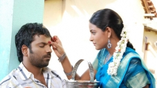 Sathish Ninasam and Subhiksha in Kannada Movie Anjada Gandu