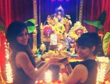 Maryam Zakaria along with Lauren Gottlieb during Ganesh Chaturthi celebration Photos