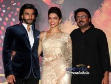 Sanjay Leela Bhansali with Deepika Padukone and Ranveer Singh at trailer launch of Ram Leela Photos