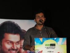 Karthi addressing media at the All in All Azhagu Raja Audio Launch Photos