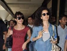 Krrish 3 film lead actress Priyanka Chopra and Kangana Ranaut spotted at Mumbai Airport Photos