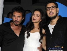 Deepika Padukone with Homi Adajani & Dinesh during the Finding Fanny Fernandez completion party Photos