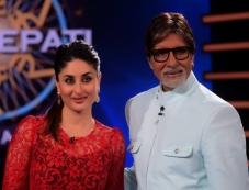 Kareena Kapoor and Amitabh Bachchan on sets of KBC 7 Photos