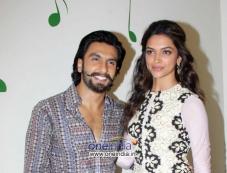Ranveer Singh and Deepika Padukone during Ram Leela film promotion at Radio City Photos