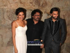 Sanjay Leela Bhansali with Raneer and Deepika at Special screening of film Ram Leela Photos