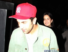 Ranbir Kapoor and Katrina Kaif snapped at the special screening of film The Wolf of Wall Street Photos