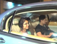 Aamir Khan with his wife Kiran Rao arrives at Dhoom 3 success party Photos