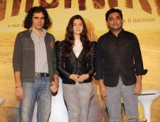 Imtiaz Ali, Alia Bhatt and AR Rahman during the Highway film media interaction Photos