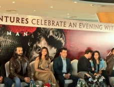 Daisy Shah, Salman Khan, Sana Khan and Sohail Khan during the promotion of Jai Ho film at Dubai Photos