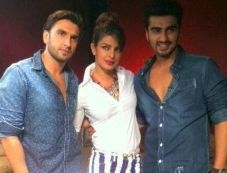 Priyanka, Ranveer and Arjun promote Gunday Photos