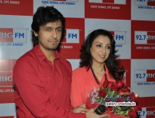 Sonu Nigam with wife Rj Madhurima celebrates Valentines Day at  Big FM Photos