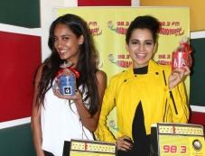 Kangna Ranaut and Lisa Haydon during the Queen promotion at Radio Mirchi Mumbai Photos
