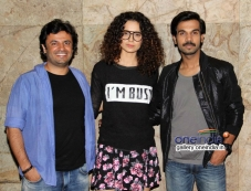 Vikas Bhal, Kangna Ranaut and Raj Kumar Yadav at Queen film screening Photos